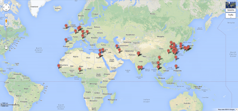 Google Map UCSF Urology Worldwide
