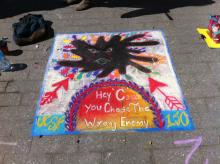 "Chalk art ""Hey Cancer-You chose the wrong enemy"""